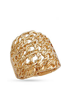 Erica Lyons Gold-Tone Glamorous Chain Link Fashion Stretch Ring