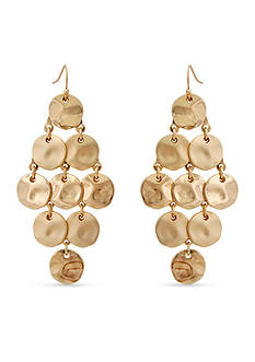 Erica Lyons Gold-Tone Hammered Kite Chandelier Earrings