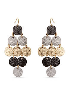 Erica Lyons Tri-Tone Hammer Time Chandelier Earrings