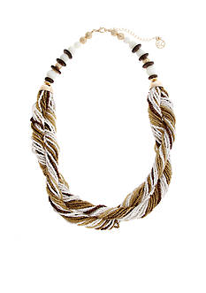 Erica Lyons Gold Tone Natural Flirt Twisted Seed Bead Necklace