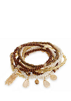 Erica Lyons Gold Tone Natural Flirt 9 Piece Stretch Bracelet