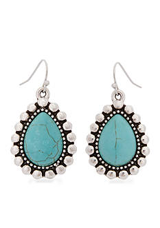 Erica Lyons Silver Tone World Turquoise Drop Teardrop Pierced Earrings