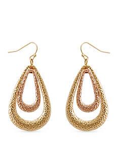 Erica Lyons Two Tone Rose Gold Trifecta Teardrop Pierced Earrings