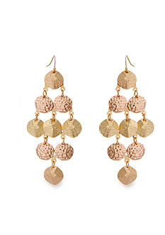 Erica Lyons Rose Gold-Tone Trifecta Chandelier Earrings