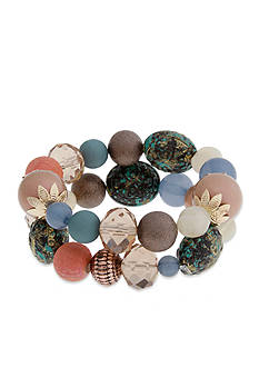 Erica Lyons Gold Tone Cool Coral 2-Piece Bracelet Set