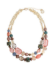 Erica Lyons Gold Tone Cool Coral Double Row Short Necklace