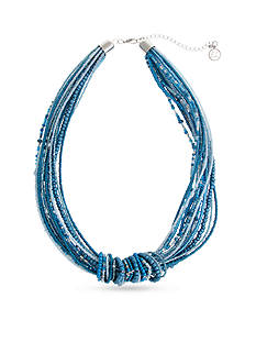 Erica Lyons Silver Tone Seed Bead Multi Collar Necklace