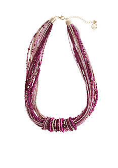 Erica Lyons Gold Tone Seed Bead Multi Seed Bead Collar Necklace