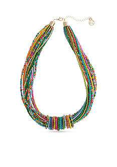Erica Lyons Gold Tone Multi Seed Bead Collar Necklace