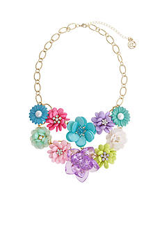 Erica Lyons Gold Tone Flowers Kitsch Multi Bib of Flower Necklace