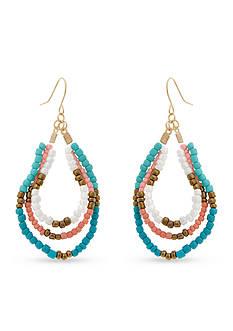 Erica Lyons Gold-Tone Cool Coral Hoop Earrings