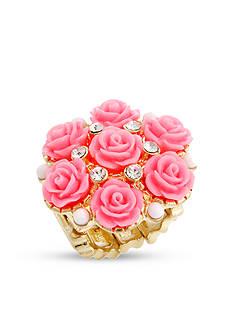 Erica Lyons Gold-Tone Glamorous Flower Fashion Stretch Ring