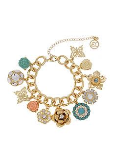 Erica Lyons Gold Tone Flower Kitsch Multi Charm Bracelet