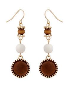 Erica Lyons Gold Tone Natural Flirt Triple Drop Pierced Earrings