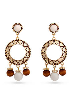 Erica Lyons Gold Tone Natural Flirt Drop Gypsy Pierced Earrings