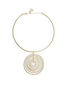 Erica Lyons Gold-Tone Choker Nested Rings Pendant Necklace