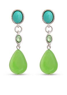 Erica Lyons Silver Tone Lime A Rita Drop Pierced Earrings