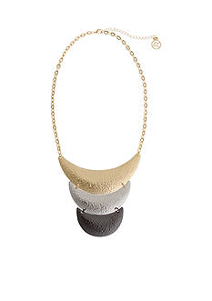 Erica Lyons Tri-Tone Hammer Time Crescent Collar Necklace
