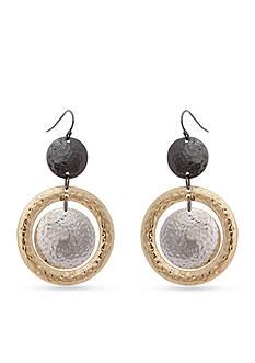 Erica Lyons Tri-Tone Hammer Time Orbital Drop Earrings