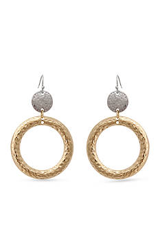 Erica Lyons Two-Tone Hammer Time Ring Drop Earrings