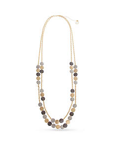 Erica Lyons Tri-Tone Hammer Time Layered Long Necklace