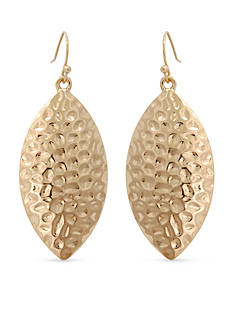 Erica Lyons Gold-Tone Hammer Time Oval Drop Earrings
