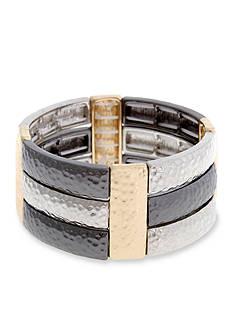 Erica Lyons Tri-Tone Hammer Time Triple Row Stretch Bracelet