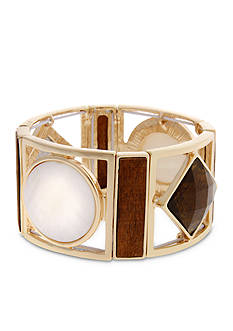 Erica Lyons Gold Tone Natural Flirt Geometric Wide Stretch Bracelet