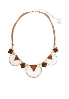 Erica Lyons Gold Tone Natural Flirt Geometric Short Necklace