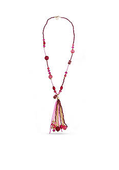Erica Lyons Gold Tone Seed Bead Multi Long Tassel Necklace