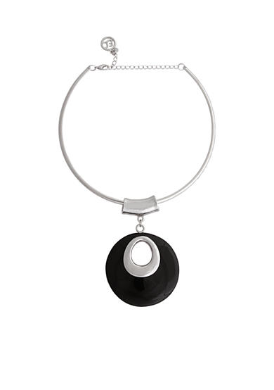 Erica Lyons Silver-Tone Choker Donut Pendant Necklace