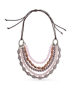 Erica Lyons Silver-Tone Yes Way Rose Multi Row Necklace