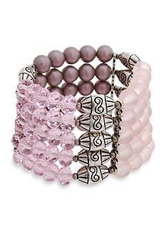 Erica Lyons Silver-Tone Yes Way Rose Multi Row Beaded Stretch Bracelet