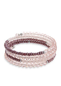 Erica Lyons Silver-Tone Yes Way Rose Beaded Coil Bracelet