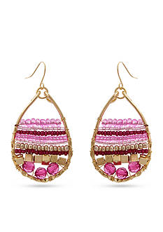 Erica Lyons Gold Tone Seed Bead Multi Teardrop Pierced Earrings