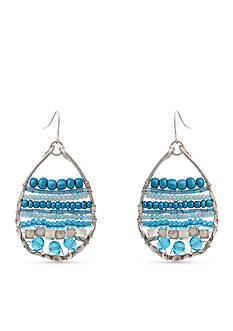 Erica Lyons Silver Tone Seed Bead Multi Teardrop Pierced Earrings