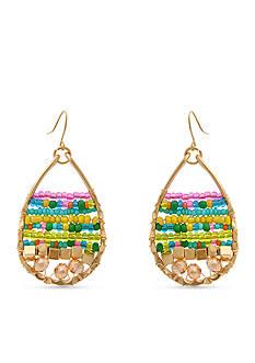 Erica Lyons Gold Tone Seed Bead Multi Teardrop Pierced Earrings