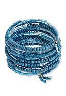 Erica Lyons Silver Tone Seed Bead Multi Coil