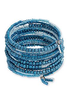 Erica Lyons Silver Tone Seed Bead Multi Coil Bracelet