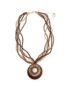 Erica Lyons Gold Tone Natural Flirt Layered Circle Pendant Necklace