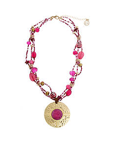 Erica Lyons Gold Tone Seed Bead Multi Short Pendant Necklace