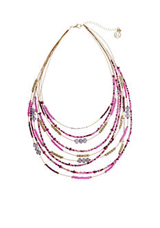 Erica Lyons Gold Tone Seed Bead Multi Short Bib Necklace