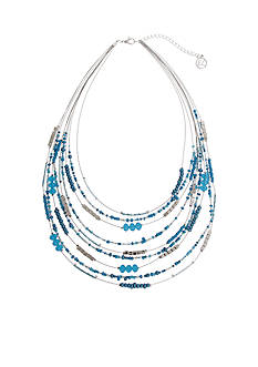Erica Lyons Silver Tone Seed Bead Multi Short Bib Necklace