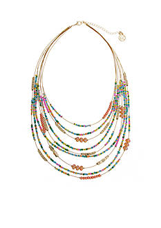 Erica Lyons Gold-Tone Seed Bead Multi Short Bib Necklace