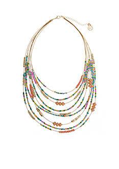 Erica Lyons Gold-Tone Seed Bead Multi Short Bib Necklace