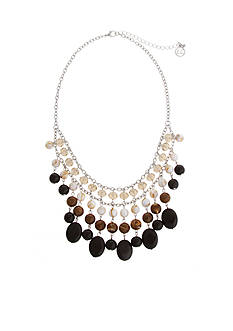 Erica Lyons Silver-Tone Neutral Territory Statment Necklace