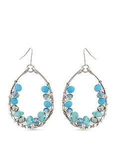 Erica Lyons Moody Blues Teardrop Gypsy Hoop Earrings