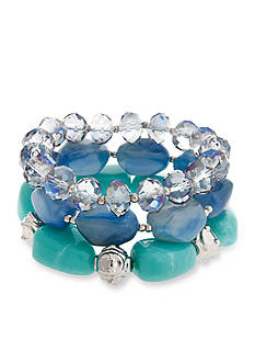 Erica Lyons Silver-Tone Moody Blues Stretch Bracelet Set