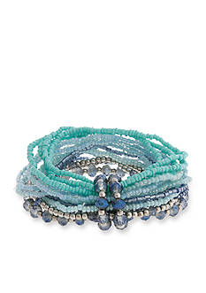 Erica Lyons Silver-Tone Moody Blues Seed Bead Stretch Bracelet