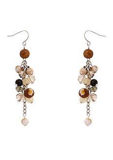 Erica Lyons Silver-Tone Neutral Territory Drop Cluster Earrings